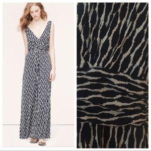 Loft ikat print v-neck maxi dress